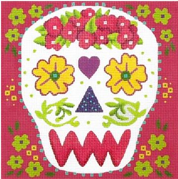 click here to view larger image of Yellow Eyes Sugar Skull (hand painted canvases)