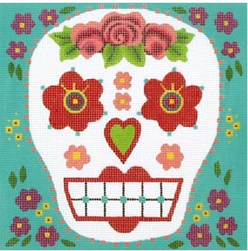 click here to view larger image of Red Head Sugar Skull (hand painted canvases)