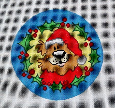 click here to view larger image of Bear Christmas Ornament (hand painted canvases)