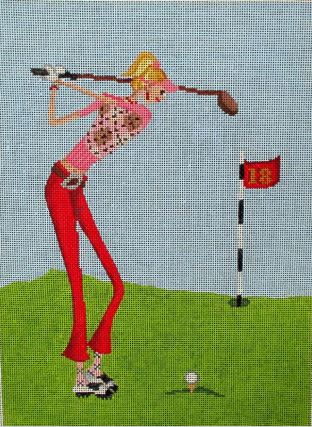 click here to view larger image of A Little Golf (hand painted canvases)