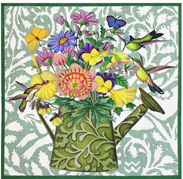 click here to view larger image of Green Watercan Bouquet With Hummingbirds (hand painted canvases)