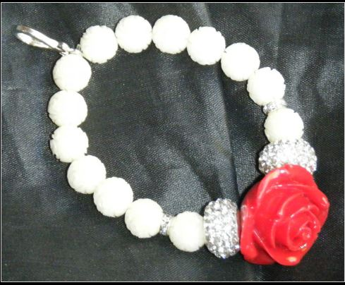 click here to view larger image of Scissor Fob Bracelet - Red Rose (accessories)