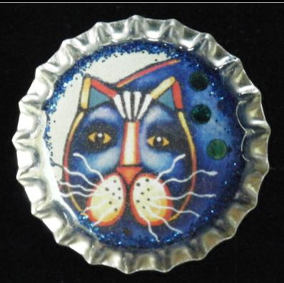 click here to view larger image of Fat Blue Cat Bottlecap Magnet (accessories)