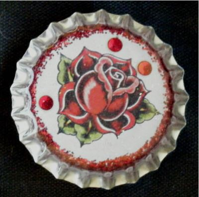 click here to view larger image of Rose Tattoo Bottlecap Magnet (accessories)