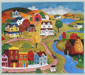 click here to view larger image of Country Town (hand painted canvases)