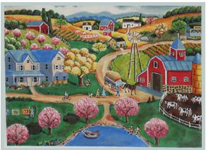 click here to view larger image of Spring at the Farm (hand painted canvases)