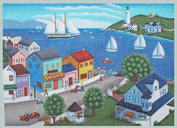 click here to view larger image of Harbor Town (hand painted canvases)