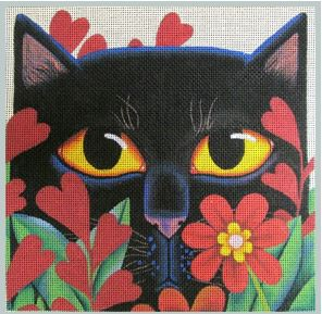 click here to view larger image of Black Cat with Flowers (hand painted canvases)