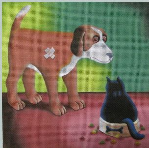 click here to view larger image of Dogs Dinner (hand painted canvases)