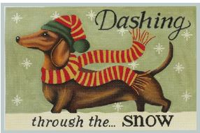 click here to view larger image of Dachshund - Winter (hand painted canvases)