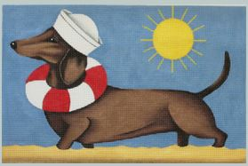 click here to view larger image of Dachshund - Summer (hand painted canvases)