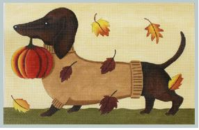 click here to view larger image of Dachshund - Fall (hand painted canvases)