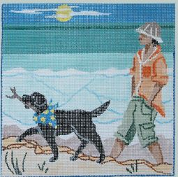 click here to view larger image of Walking the Dog (hand painted canvases)