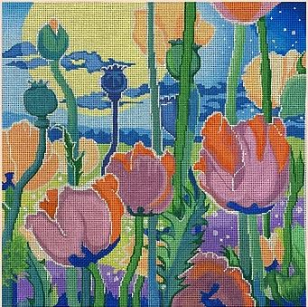 click here to view larger image of Moonlit Poppy Garden (hand painted canvases)
