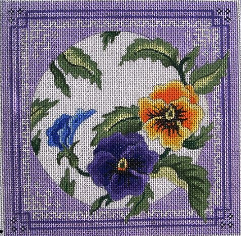 click here to view larger image of Lavender and Yellow Pansies/Borders (hand painted canvases)
