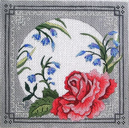 click here to view larger image of Pink Rose/ Gray & White Lace Border (hand painted canvases)