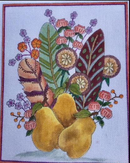 click here to view larger image of Feather Bouquet with Pears (hand painted canvases)