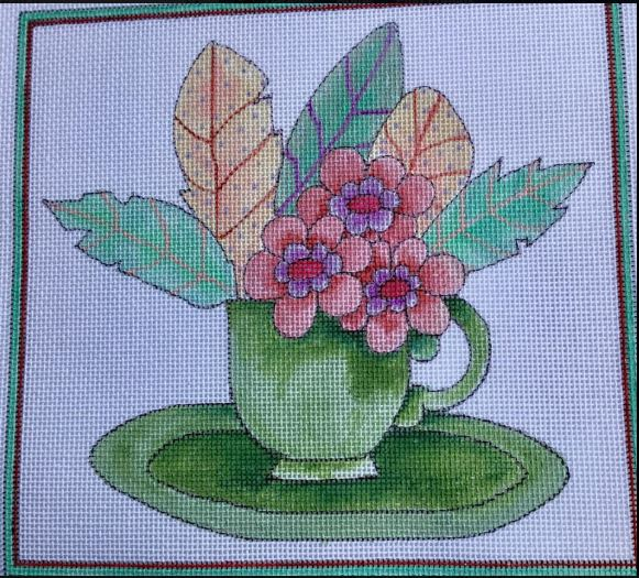 click here to view larger image of Feather Still Life - Teacup (hand painted canvases)