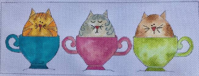 click here to view larger image of 3 Little Kitties in a Cup (hand painted canvases)