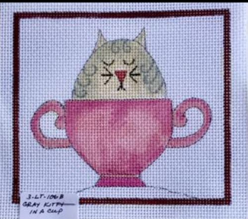 click here to view larger image of Gray Kittie in a Cup (hand painted canvases)
