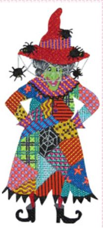 click here to view larger image of Black Widow Patchwork Witch   (hand painted canvases)