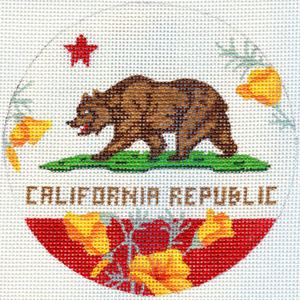 click here to view larger image of California Bear with Poppies (hand painted canvases)