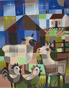 click here to view larger image of Barnyard at Night  (hand painted canvases)