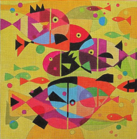 click here to view larger image of Aquatic Rainbow (hand painted canvases)