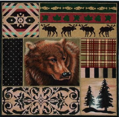 click here to view larger image of Grizzley Bear Collage (hand painted canvases)