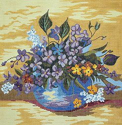 click here to view larger image of Bowl of Violets (hand painted canvases)
