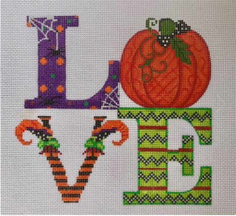click here to view larger image of LOVE - Halloween (hand painted canvases)