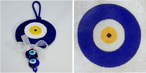 click here to view larger image of Evil Eye w/ Beads (hand painted canvases)