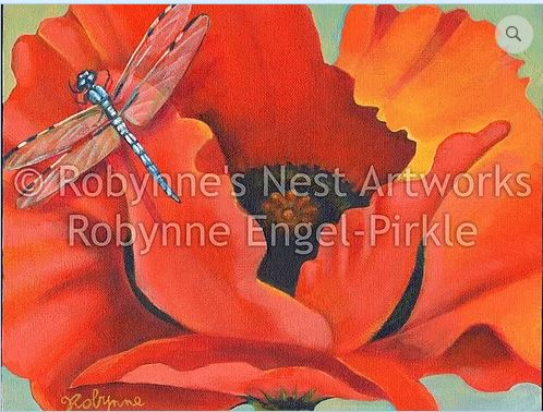 click here to view larger image of Orange Poppy with Dragonfly (hand painted canvases)