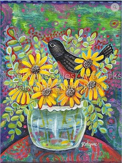 click here to view larger image of Folk Art Bird & Flowers (hand painted canvases)