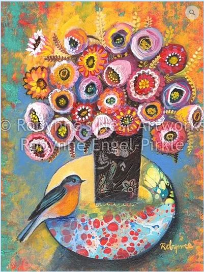 click here to view larger image of Bluebird with Bouquet (hand painted canvases)
