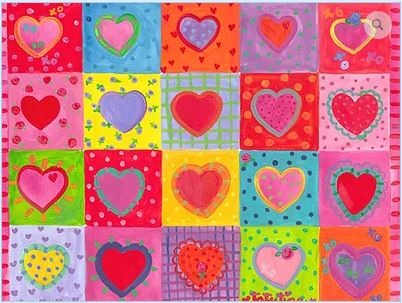 click here to view larger image of Hearts Quilt (hand painted canvases)