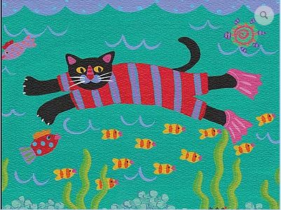 click here to view larger image of Cat Swimming (hand painted canvases)
