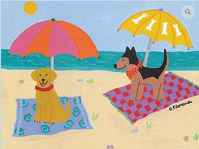 click here to view larger image of Dogs on Beach 2 (hand painted canvases)