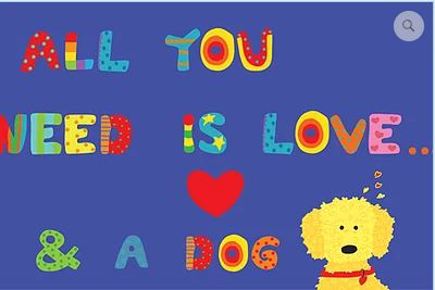 click here to view larger image of All You Need is Love and a Dog (hand painted canvases)