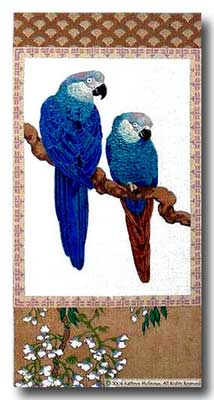 click here to view larger image of Blue Parrot Scroll (hand painted canvases)