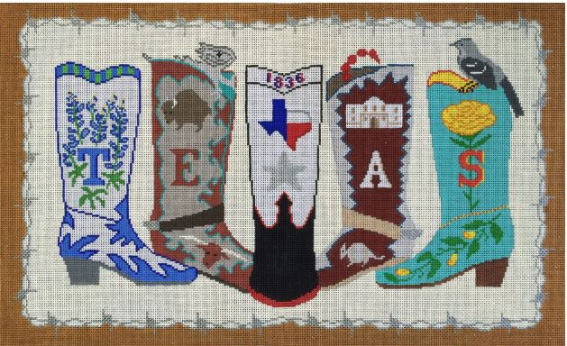 click here to view larger image of Texas Boots (hand painted canvases)