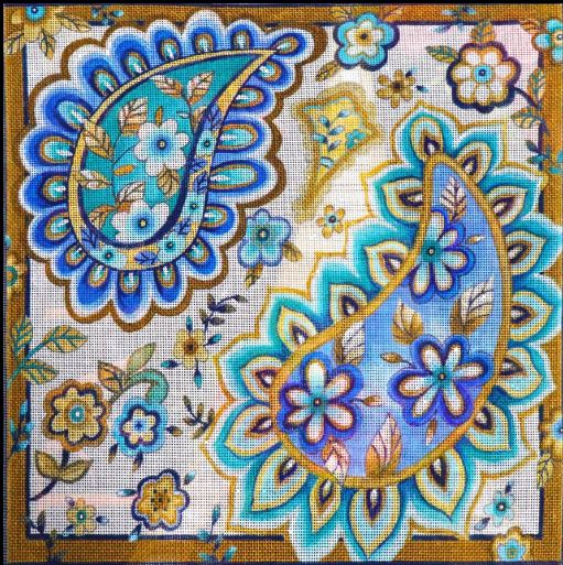 click here to view larger image of Blue Paisley Large (hand painted canvases)