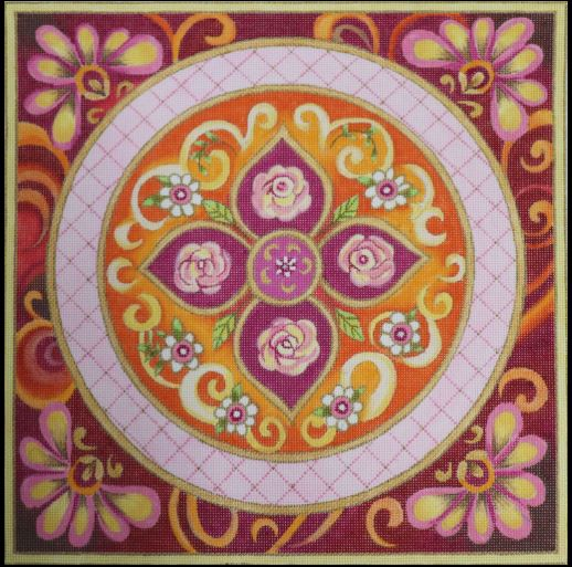 click here to view larger image of Pink Medallion (hand painted canvases)