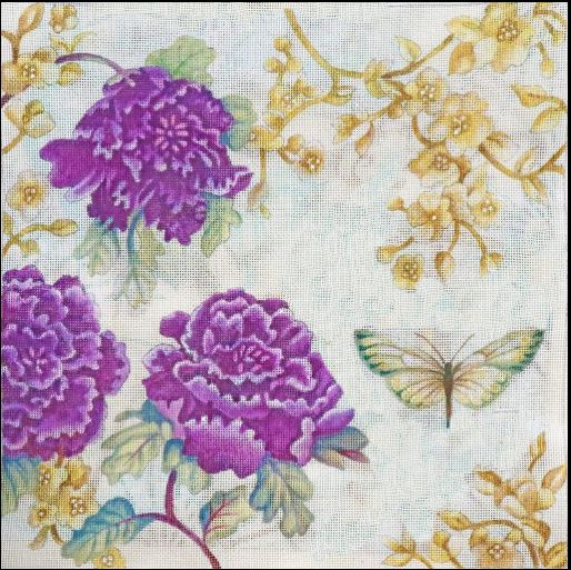 click here to view larger image of Peony in Purple (hand painted canvases)