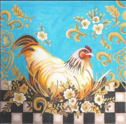 click here to view larger image of Checkerboard Hen (hand painted canvases)