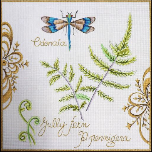 click here to view larger image of Botanical Dragonfly (hand painted canvases)