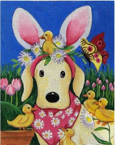 click here to view larger image of Happy Easter Puppy  (hand painted canvases)