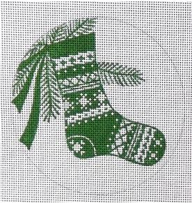 click here to view larger image of Stocking Ornament - Green (hand painted canvases)