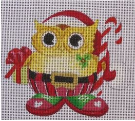 click here to view larger image of Owl with Candy Cane (hand painted canvases)