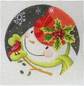 click here to view larger image of Holly on Hat Snowman (hand painted canvases)